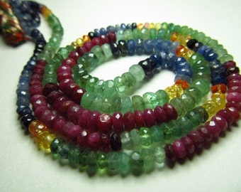 16 inches AAA High -Quality Gorgeous Multy Shaded Emarald Ruby Sapphire precious Micro -Faceted Rondell Beads size 2.75 - 4 mm