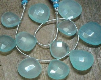 8 Inches - Superb - Aqua Chalcedony Faceted - huge size - heart shape - briolett - - Size -15 mm -24 mm Approx 11 pcs
