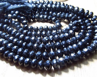 8 -Inches AAAA grade high quality super sparkly Black Spinel Micro Faceted Rondell Beads size 6 mm approx