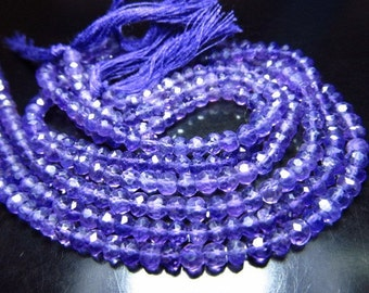 AAA So  Gorgeous  High Quality Amazing  Nice Purple Colour Nice Clean  Amethyst - Micro Faceted  Rondell Beads - Size 4 MM 14 Inches