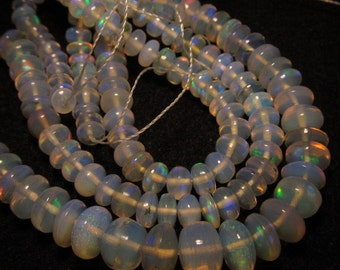 Truly - Awesome - every beads have amazing - fire - 14 inches - ethiopian opal smooth polished rondell beads size 3 - 6 mm approx