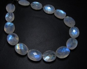 15 pcs -AAA -High Quality Rainbow MOONSTONE Faceted Oval Briolett Each Pcs Have Amazing Blue Fire Huge size 8x10- 10x14 mm-