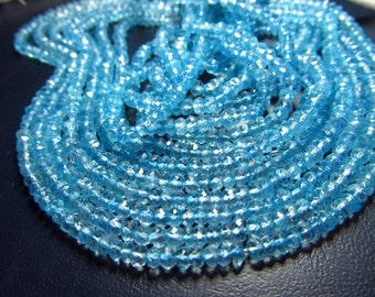 5 strand x14 Inches AAA High Quality Nice  Clean Sky Blue Topaz Micro Faceted Rondell  Beads Size 3.5-  4 MM