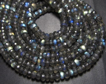 10x14 inches - AAA High Quality Gorgeous Full Flashy Fire Labradorite Super Sparle Micro Faceted Rondell Beads size 4.5 - 5 mm approx
