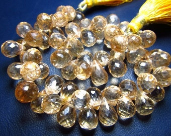 8 Inches - Very Finest -super sparkle -  Sun Kissed - Yellow Mystic Quartz Micro Faceted Tear Drops Briolett  - Size 6x8--8x12mm Approx