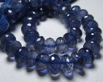 8 inches amazing deep blue - IOLITE - super super sparkle nice clear quality micro faceted rondell beads Huge - size 8 - 7 mm approx