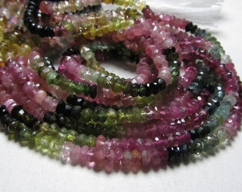 Wholesale Deal 15 x strand 14 Inches - Gorgeous - Tourmaline - multy shaded - faceted - rondell beads huge size 3.5  mm approx