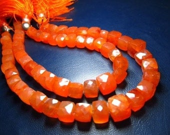 8 inches - so -gorgeous - NICE - quality - nice- colour - orange - CARNELIAN - Faceted - - Cubes -  - size 6 - 8 mm approx