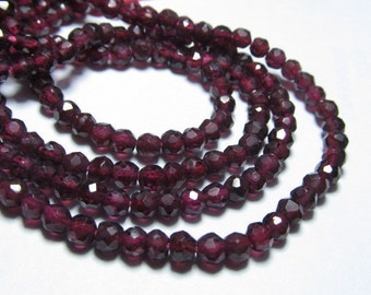 5x14 inches Gorgeous Red Garnet Micro Faceted Round Ball Beads Size 4 mm approx