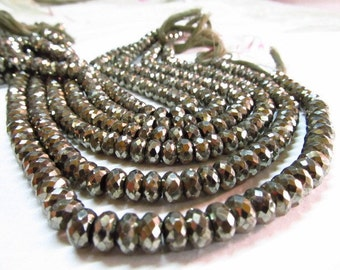 8 inches - AAA - super diamond sparkle - golden - pyrite - micro faceted - rondell beads size 6 - 5 mm approx