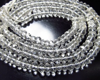 14 inches Super Fine So Sparkly Gorgeous Quality Crystal Quartz Micro Faceted -Rondell Beads Size  3.5 mm