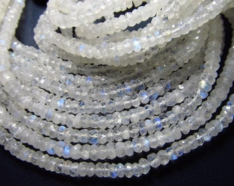 4 strand x 14 Inches - Rainbow Moonstone Micro Faceted Rondelles - Fire Moonstone - Very Fine Quality 4 mm Approx -