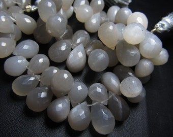8 Inches --Grey  - Moonstone Faceted Tear Drops Briolett Nice Flashy Fire Super Sparkle  -- Huge Size Size 11 - 7 mm Approx