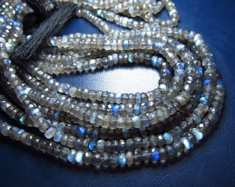 4 x 14 inches -AWESOME-AMAZING - LABRADORITE - Full Flash -Beaitifull- Micro Faceted - Rondell Beads 3.5 mm
