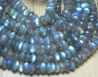 16 inches - top grade - high quality - super sprakle - full flashy amazing fire - labradorite - micro faceted - rondell beads - size approx