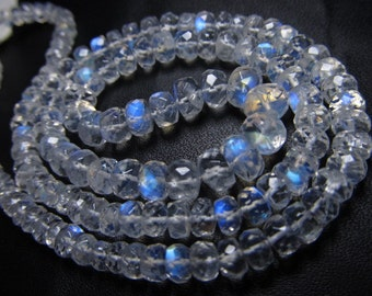16 inches Truly Amazing AAAAA - High Quality Rainbow Moonstone Micro Faceted Rondell Beads Huge size 6 - 3 mm Full Flashy and Nice clear