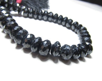 8 Inches Super Diamond Shine Black Spinel Micro Faceted Rondell Beads Huge Size - 6 - 7 mm