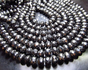 5 strand x 8 inches - super diamond sparkle - micro faceted - rondell beads - BLACK SPINEL - size - 5 - 6 mm wholsalle lot wholasell price