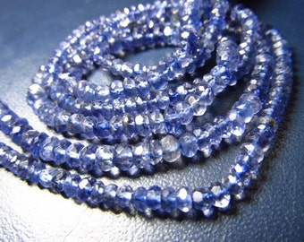 14 Inches So -- Gorgeous - Nice Deep - Blue - Colour - Iolite - Micro Faceted - Rondell Beads - SIZE  3.5 MM