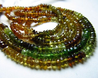 14 inches -Gorgeous -Tourmaline Petrol Green Brown Super Sparkle Faceted Rondell Bedas Size 2 - 2.5 MM APPROX