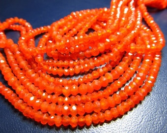 14 Inches -- WHOLSALE- Price - - Very Very Rare - Super Fine -High - Quality Carnelian FACETED - Rondelles - Size -3.5mm Approx