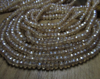 2x 14 Inches FULL STRAND Very Fine Quality Light GoldenColour Citrine Mystic Quartz Micro - Faceted Rondell beads   - Size 4 mm