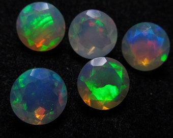 7mm The Most Best High Quality in The World Ethiopian Opal Super Sparkle Faceted Cut Stone Every Pcs Amazing Full Flashy Multy Fire  5pcs