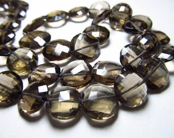 8 inches full strand - AAA high quality nice clean - smockey quartz - faceted - coin shape  briolett - size 7 -9 mm approx
