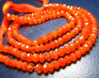very nice quality gorgeous colour carnelian micro feceted rondells beads size 4mm length 14 inches