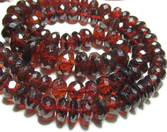 AAAAA -16 inches - High Quality Amazing  Red Garnet -Nice Colour - Micro Faceted Rondell Baeds SIZE  6 - 8 mm approx