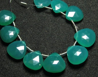 5 Matched Pair 12x12 mm  - AAA - High Quality Gorgeous Emerald Green Colour Green Onyx Faceted Heart Briolett super Shine