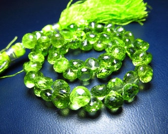 8 inches  - AAAA - high quality amazing parrot green colour natural - peridot - faceted onion briolett - super sparkle -  size - 6 mm