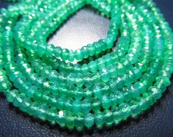 14 Inches AAA High Quality  So Gorgeous  Emarald Green  Colour  Green Onyx  Micro Faceted  Rondell Beads size 4mm