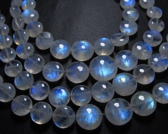 AAA - awesome - Rainbow Moonstone Smooth Polished - Coin shape brioloett amazing fire in the stone and nice clean size 5 - 9 mm 50pcs