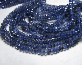 5x 14 inches amazing deep blue - IOLITE - super super sparkle nice clear quality micro faceted rondell beads size 3 mm approx