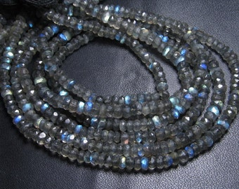 14 inches - AAA High Quality Gorgeous Full Flashy Fire Labradorite Super Sparle Micro Faceted Rondell Beads size 3 mm approx