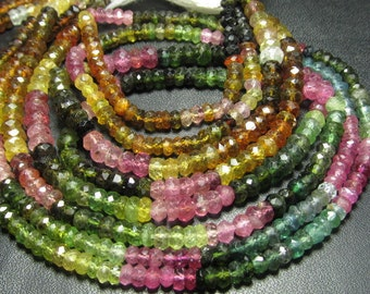 4x14 inches Amazing gorgeous Watermelone - TOURMALINE - Micro Faceted Rondell Beads Size 4 mm approx great quality
