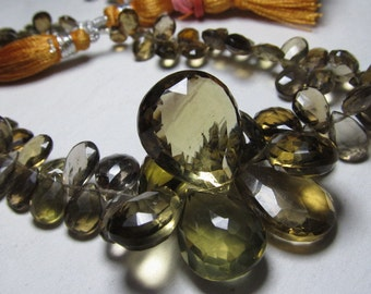 8 inches Full strand  - Amazing - Beautifull - Honey Quartz - super Sparkle Faceted Pear Briolett huge size 16x20 - 4x6 mm approx