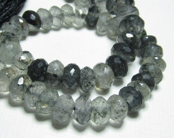 8 inches - High Quality Gorgeous - Black Rutilated Quartz Super Sparkle Micro Faceted Rondell Beads 5 - 6  mm