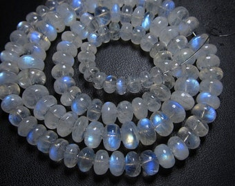 4x16 Inches - AAA - High Quality Beautifull Gorgeous Rainbow Moonstone Smooth Rondell Beads Full Flashy Fire Graduated Size 5 - 9 mm approx
