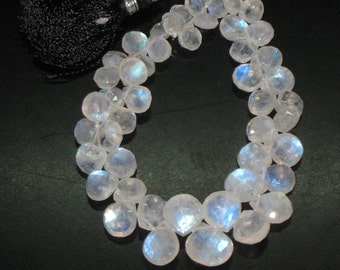 8 inches Gorgeous Rainbow Moonstone Full Flash Fire Faceted Heart Briolett - 5 - 9 mm Approx