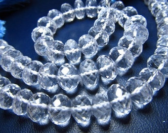 8 inches - super AAA Quality Super Sparkle Nice clear CRYSTAL Quartz Micro Faceted Rondell Beads - Size 8- 9 MM