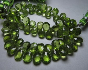 8 inches  -AAAA  high quality amazing parrot green colour natural  peridot faceted Pear briolett - super sparkle -  size - 6 - 9 mm