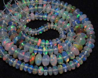 16 inches Very Rare Ethiopian Opal Very Unique Super Rare Ethiopian Opal Smooth Rondells Super Rare Inside Fire Opal Size 3 -5mm