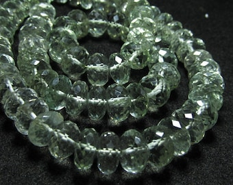 8 inches - Trully Amazing - AAAA - High Quality - Brazil Green AMETHYST - Micro Faceted - Rondell Beads Huge Size - 10 - 8 mm sparkle