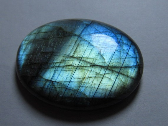 so - gorgeous - nice quality - full flashy strong fire - labradorite - oval shape  - cabochon - huge size - 31x41 mm