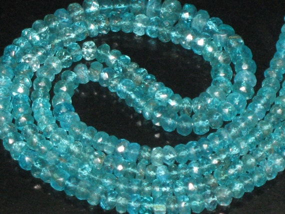 14 inches -full strand - SO Gorgeous - APATITE - Micro Faceted -Rondell BEADS - size -3.5 - 4 mm great quality great price