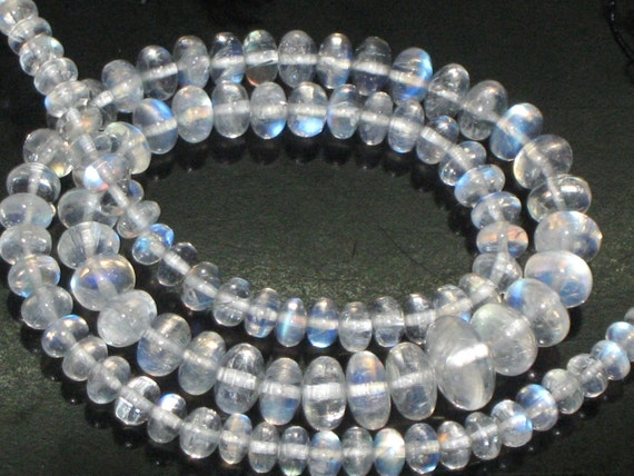 16 inches -full strand -AAAA-SO GORGEOUS -High Quality Outastanding - Eye Clean -Rainbow Moonstone -Smooth Rondell Beads -Each Pcs Very Nic