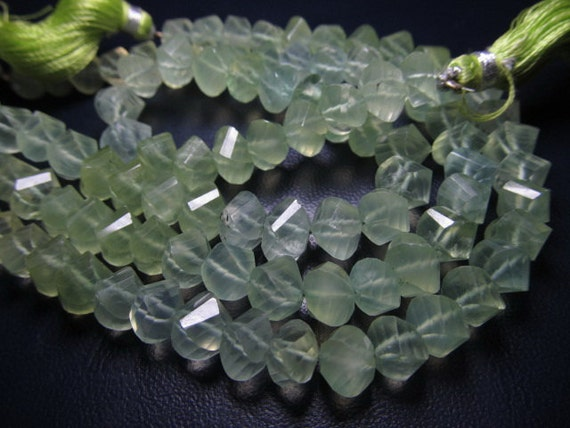 8 Inches AAAA - High quality Yllow Green Natural PREHNITE - super Sparkle Faceted Twisted Briolett Huge Size - 8 -7  mm approx