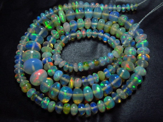 8 inches Very Rare Ethiopian Opal Very Unique Super Rare Ethiopian Opal Smooth Rondells Super Rare Inside  Fire Opal Size 2 -5mm